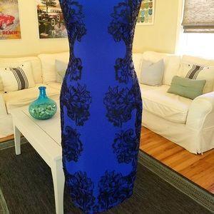 Tadashi Shoji Blue & Black Midi Dress